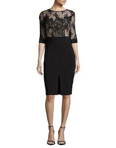"""<ul><li>Enchanting lace dress with front slit and embroidery detail</li><li>Jewelneck</li><li>Sheer elbow-length sleeves</li><li>Front slit</li><li>Back zipper closure</li><li>Fully lined</li><li>About 43"""" from shoulder to hem</li><li>Polyester/spandex</li><li>Dry clean</li><li>Imported</li><li>This item will arrive with a tag attached and instructions for removal. Once tag is removed, this item cannot be returned.</li></ul>"""