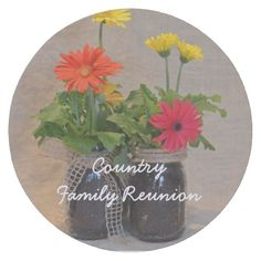 Personalized Mason Jar Daisy Family Reunion Round Paper Coaster This country Family Reunion product features floral nature photography of mason jars filled with beautiful spring Gerbera Daisies in yellow, orange and pink with a tan linen background. Great for an floral, spring, summer, country theme, or rustic reunion. #family #reunion #masonjar