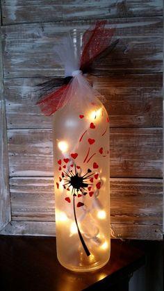 Valentine's Day Lighted Wine Bottle/Wish , bottle crafts valentines Valentine's Day Lighted Wine Bottle/Wish Recycled Wine Bottles, Wine Bottle Corks, Glass Bottle Crafts, Painted Wine Bottles, Lighted Wine Bottles, Diy Bottle, Painted Wine Glasses, Bottle Lights, Vodka Bottle