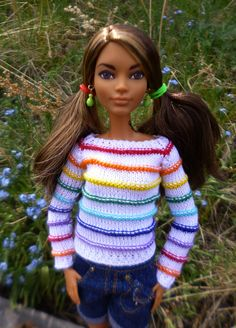 Barbie Knitting Patterns, Knitting Dolls Clothes, Crochet Dolls Free Patterns, Knitted Dolls, Doll Clothes Patterns, Crochet Clothes, Clothing Patterns, Barbie Skipper, Barbie Dress