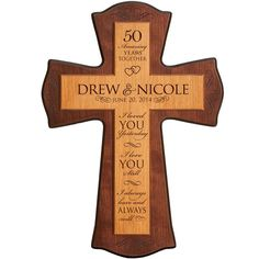 """Personalized 50th Wedding Anniversary Wall or desktop Customized  Cross for 50th  Anniversary Couple 12"""" w x 17"""" h  Made of Cherry wood"""
