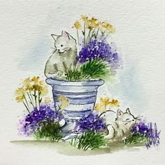 Art Impressions Wonderful Watercolor handmade card with flower pot, grass, flowers, cats, kittens