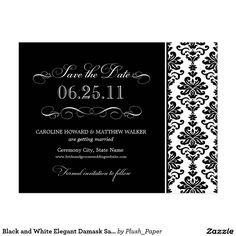 Black and White Elegant Damask Save the Date