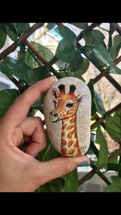 Hand-Painted Giraffe Rock  Painted Giraffe Stone  Giraffe Hand Painted Rocks, Painted Stones, Cute Paintings, Animal Paintings, Stone Painting, Rock Painting, Rolling Stones, Rock Animals, Giraffe Painting