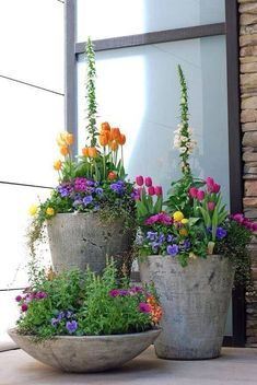 90 Stunning Spring Garden Ideas for Front Yard and Backyard Landscaping - Backyard Garden Inspiration Container Plants, Container Gardening, Container Flowers, Plant Containers, Container Design, Evergreen Container, Compost Container, Large Containers, Urban Garden Design