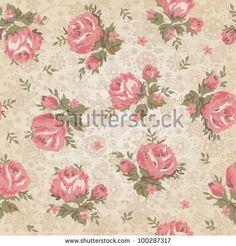 Seamless Wallpaper Pattern With Roses Banco de ilustração vetorial 112692181 : Shutterstock