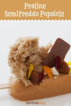 Praline Semifreddo Popsicle - Serena Lissy - Fancy, modern plated dessert with . - Praline Semifreddo Popsicle – Serena Lissy – Fancy, modern plated dessert with perfectly paire - Microwave Sponge Cake, Delicious Desserts, Dessert Recipes, Hazelnut Praline, Types Of Desserts, Mango Puree, Almond Cream, Ground Almonds, Plated Desserts