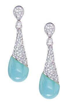 Sterling Silver Crystal & Aqua Teardrop Dangle Earrings