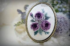 13번째 이미지 Silk Ribbon Embroidery, Embroidery Stitches, Embroidery Patterns, Hand Embroidery, Creative Embroidery, Brazilian Embroidery, Oval Pendant, Handmade Accessories, Needlepoint