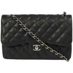 Chanel Double Flap Bag Caviar Calfskin (5 900 AUD) ❤ liked on Polyvore featuring bags, black, chanel, handbags, hologram bags, pocket pouch, round bag, flap bags and holographic bag