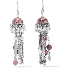 Etro - Silver-plated Rhodonite Earrings (1.015 BRL) ❤ liked on Polyvore featuring jewelry, earrings, pink, silver plated earrings, multi colored earrings, pink earrings, multicolor earrings and silver plated jewelry