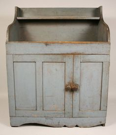 Small dry sink in blue paint, Mid-Atlantic states : Lot 170 Primitive Cabinets, Primitive Kitchen, Primitive Furniture, Primitive Antiques, Country Furniture, Antique Furniture, Primitive Decor, Country Primitive, Antique Toys