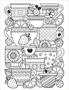 The Paperback of the Blank Book Journal: Coffee Cups Cover Diary Notebook: x 11 size 120 lined pages! by Diary Journal Book, Word on the Playground, Free Adult Coloring Pages, Coloring Book Pages, Coloring Sheets, Free Coloring, Digital Drawing, Doodle Coloring, Blank Book, Book Journal, Bullet Journal
