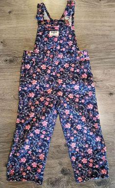 New OshKosh Girls Pink Velour Flower Cuff Overalls 24m 3T 4T 5T Vestbak