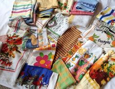 Vintage Retro Mixed Lot 25+ Tea Towels Some Used Some Not Some Contemporary Too
