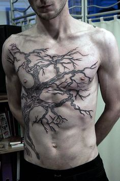 96dcf567992 Gnarled Oak Tree Branches Tattoo On Torso For Guys Tree Tattoos