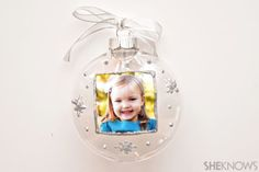 Homemade photo ornaments made by kids are the perfect holiday gift