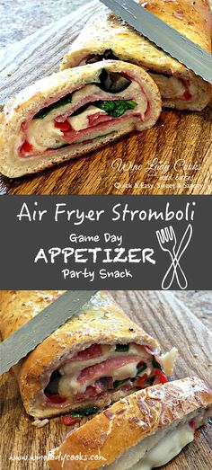 Air Fryer Stromboli ham cheese spinach appetizer quick and easy snack. Click thru for both air fryer and oven baked recipe. (easy finger food ham and cheese) - Comfort Food Recipes Quick And Easy Appetizers, Easy Snacks, Appetizers For Party, Appetizer Recipes, Dinner Recipes, Snack Recipes, Raw Recipes, Sandwich Recipes, Brunch Recipes
