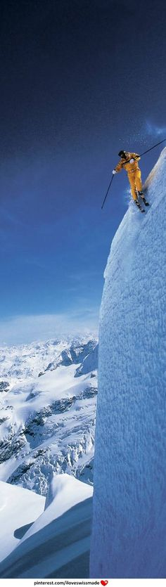 Extreme freestyle skiing in Switzerland. Pin adapted to pinterest by iloveswissmade