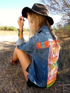 Coconut Village Denim Jacket w/beaded panel and fringe