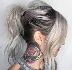 Granny Silver/ Grey Hair Color Ideas: Messy Ponytail with Grown-Out Roots