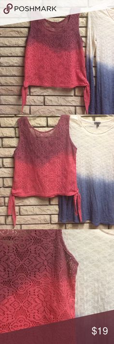 Custom Dip Dyed Fuchsia Knit Top, sz M Adorable fuchsia dip dyed knit top. It's meant to look crocheted but is more durable, the colors are like candy in person 🍬🍬🍬. The tag has been removed but it will fit like a women's medium. ❌❌Listed as LF for exporsure❌❌ LF Tops Tank Tops