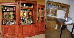 christinebyhand: Old Home Entertainment Centers - Great Ideas for Repurposing, Reusing, and Recycling Furniture Makeover, Diy Furniture, Old Entertainment Centers, Small Space Organization, Repurposed Furniture, Repurposing, Old Houses, Liquor Cabinet, Small Spaces