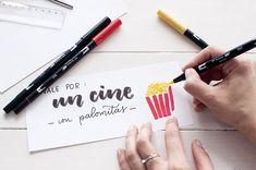 vale por un cine con palomitas con lettering, del tutorial de talonario de regalos para san valentin
