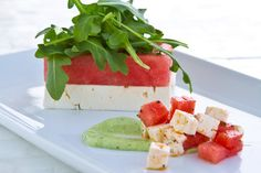 H20 Melon Salad, Havana Beach Bar & Grill at the Pearl, Rosemary Beach, FL  ---   Executive chef Michael Guerra fuses the cuisines of the Creole back country, Mexican fishing villages and the soul of Cuba in his diverse menu. Available on the lunch and dinner menus, the H20 Melon Salad utilizes the summer fruit and mixes it with feta cheese, baby arugula, diced cucumber and Marcona almonds with a honey vinaigrette made from local honey.