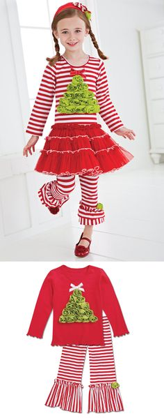 Christmas Tree Outfits - Girls Clothing by One Posh Kid - Kids Clothing - CWDkids Christmas Tree Outfit, Striped Leggings, Holiday Dresses, Holidays And Events, Striped Dress, Baby Kids, Kids Outfits, Girl Fashion, Kids Clothing