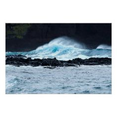 A wave crashes against the black lava cliffs at Lajes on the island of Pico in the Azores Crashing Waves, Azores, Landscape Prints, Custom Posters, Atlantic Ocean, Holiday Photos, Photographic Prints, Lava, Surfing