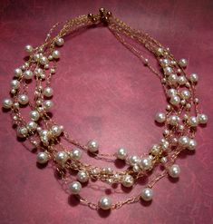 wire Crocheted jewelry | even sold an elegant gold chain necklace with a huge black Swarovski ...