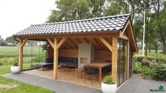 Backyard Pavilion, Backyard Sheds, Backyard Patio Designs, Fire Pit Backyard, Backyard Landscaping, Gazebo, Summer House Garden, Backyard Fireplace, Garden Canopy