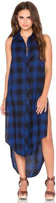 Bobi Woven Plaid Sleeveless Shirt Dress - Shop for women's Shirt - Blue_WD943 Shirt