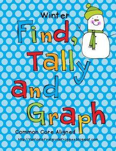 Graphing: Find, Tally and Graph- Winter Math Classroom, Kindergarten Math, Classroom Themes, Teaching Math, Teaching Resources, Preschool, Fun Math, Math Activities, Winter Activities