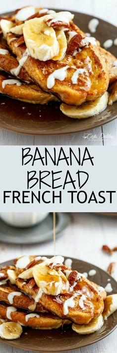 Banana Bread French Toast drizzled with a Cream Cheese Glaze Waffle Recipes, Brunch Recipes, Breakfast Recipes, Party Recipes, Bread Recipes, Pavlova, Banana Bread French Toast, Sauce Creme, Sauces