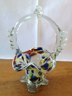 Rare Glass | end of day glass basket for sale a very pretty hand blown glass basket ...