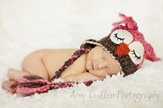 Sleepy Owl Hat -Baby Owl Hat for Baby- Two toned Cute and Soft Earflap - Girl Owl Hat -by JoJosBootique via Etsy