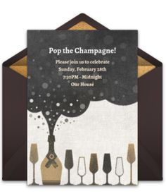 """Browse our collection of free cocktail party invitation templates! We love this free """"Champagne Bubble"""" invite, perfect for inviting friends to a champagne-inspired cocktail party."""