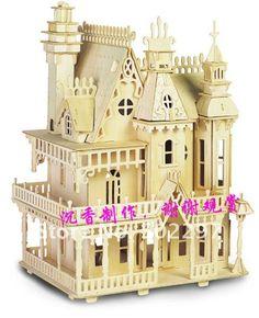 /24 kit de madera de la casa de madera 4rooms de la muñeca del dollhouse del rompecabezas