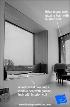 The window reveal is the walls immediately surrounding your windows and offers some interesting design opportunities. Interior And Exterior Angles, Interior Walls, Blinds For Windows, Curtains With Blinds, Blueprint Symbols, Floor Plan Symbols, Bay Window Design, Triangle Window, Georgian Windows