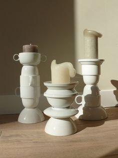Kandelaars gemaakt van gestapeld servies (wel even vastplakken ;-)  www.huiswerk-vanessa.blogspot.nl
