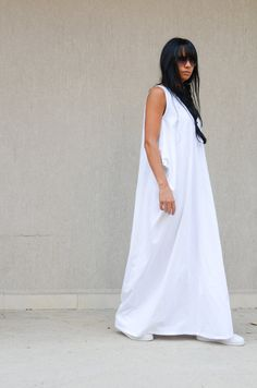 White loose dress Oversize  dress White dress Maxi dress