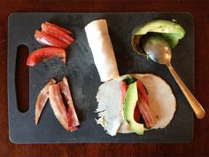 Ingredients 4-6 slices Turkey Cold Cuts (Applegate or Boar's Head are my favorites) 1 Plum Tomato, seeded and cut into strips 2 slices Bacon, cooked and cut in half lengthwise and then cut in half width wise (you'll end up with 8 pieces) 1 Avocado, sliced Baby Spinach Leaves