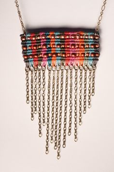 Beaded Multicolor Circuit Rectangle with dangling by AMiRAjewelry, $85.00