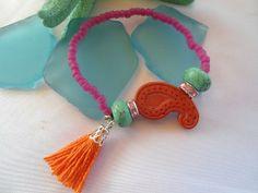 SALE GYPSY PAISLEY Bracelet Bohemian tassel Bracelet by Nezihe1 18.00