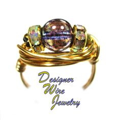 Amethyst Bronze Luster Czech Solitaire Artisan Gold Tone Wire Wrap Ring All Sizes