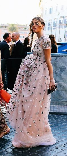 Street style in blush lace Valentino