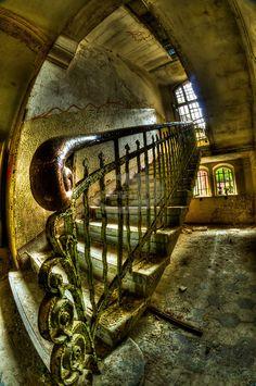 Derelict room interior of old building in Germany