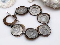 Argent sterling & cuivre réversible Spiral par LeslieZemenekJewelry